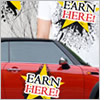 """T-shirt and car emblazoned with the words """"Earn here!"""""""
