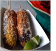 Mexican corn on the cob with cheese
